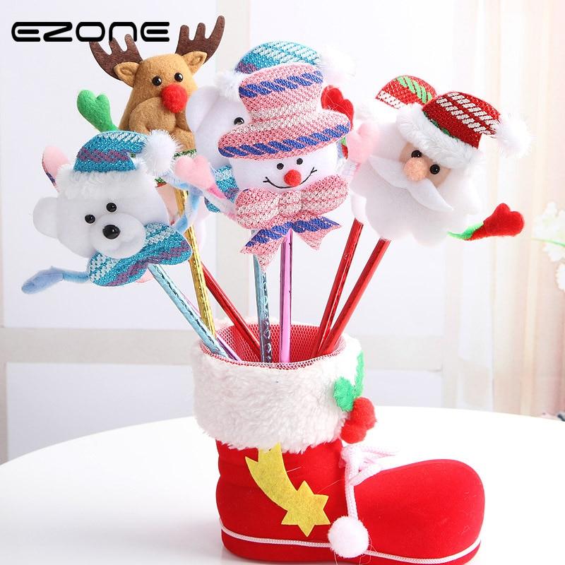 EZONE 4PC/Set Kawaii Cartoon Plush Christmas Series Ballpoint Pen Creative Ball Point Pen Korean School Stationery Rabdom Color цены