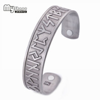 Mijn Vorm Verzilverd Magnetische Armbanden Bangles voor Vrouwen Viking Manchet Bangle Gegraveerde Armband Mannen Sieraden