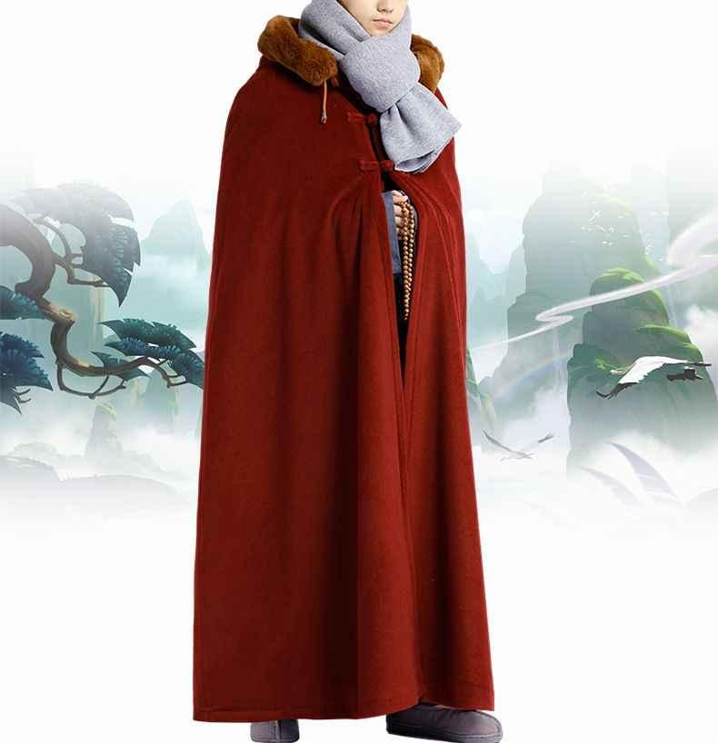 Зимняя теплая буддистская медитация унисекс, 7 цветов, плащ, пальто дзен, накидка, одежда монахов, форма для боевых искусств, одежда для кунг-фу, красный/синий