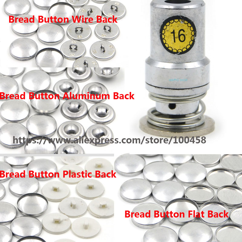16# Round Aluminum Fabric Self Covered Button with Die Tool Metal Bread Top Flat Plastic Ring/Aluminum Back DIY Handmade Button