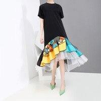 Johnature Streetwear Fashion Summer 2019 New Embroidered Splice Mesh Ruffles Women Dress O neck Short Sleeve A line Lady Dresses