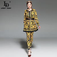 LD LINDA DELLA 2017 Autumn Fashion Runway Designer Suit Women Three Pieces Set Floral Print Tops