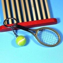Мини металл теннис ракетка ручная работа сувенир милый теннис ракетка мяч брелок ключ спорт цепь автомобиль велосипед брелок новинка подарок +горячий