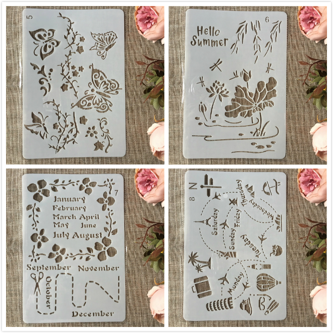 4Pcs A4 26cm Summer Travel Butterfly DIY Craft Layering Stencils Painting Scrapbooking Stamping Embossing Album Paper Template