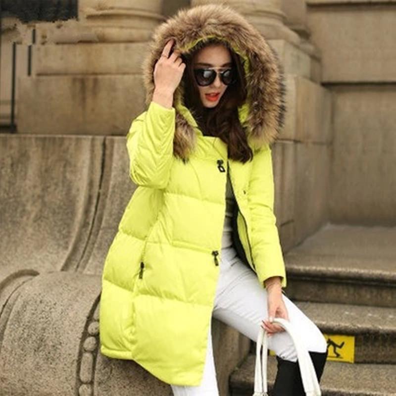 ФОТО New Women Coats Jackets 2016 Parka Hooded Winter Jacket Women Fur Collar Winter Coat Women Zipper Jacket