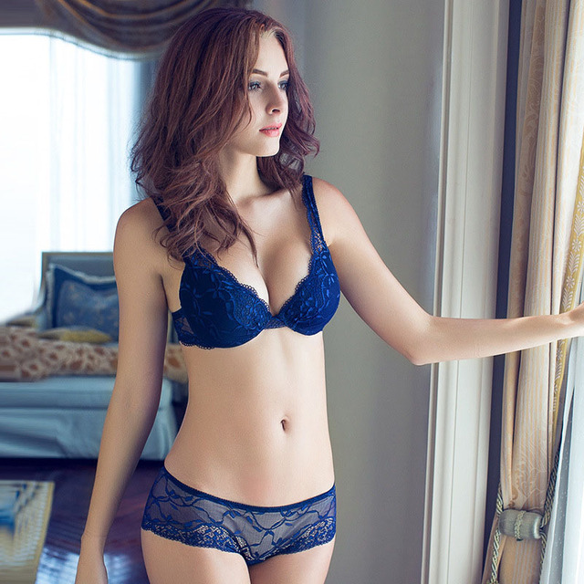Embroidered bra and panty sets lingerie sexy push up lace bra girls women  bras set fashion navy blue bra briefs 2 e320fe8c0