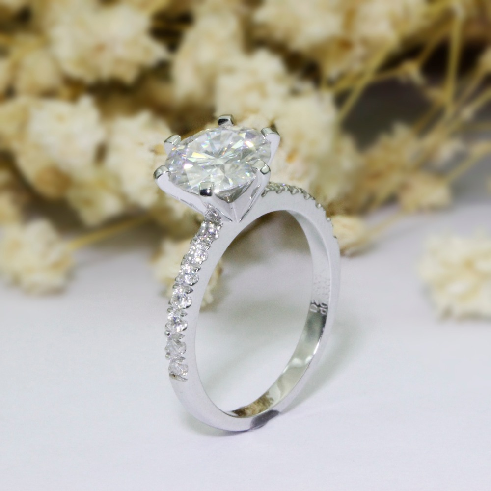 LASAMERO 2.5CT Luxury Round Cut Simulated Diamond Engagement Ring 925 Sterling Silver Romantic Accents Promise Wedding Ring