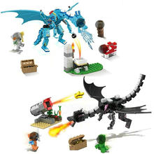 Minecrafted Blocks The Attack Of Hyper Dragon With Armor Steve Mini Action Figures Brick Toys Compatible LegoINGly Buildings(China)