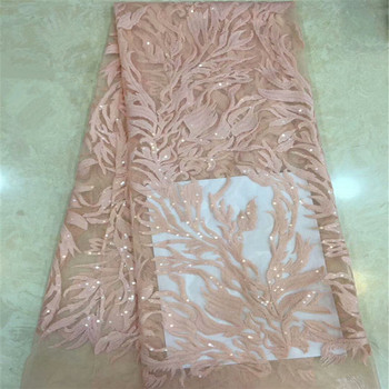 2019 Latest Indian Embroidery Tulle Lace Evening Dress French Lace Fabric African High Quality Sequins Net Lace Fabric xc65-1528
