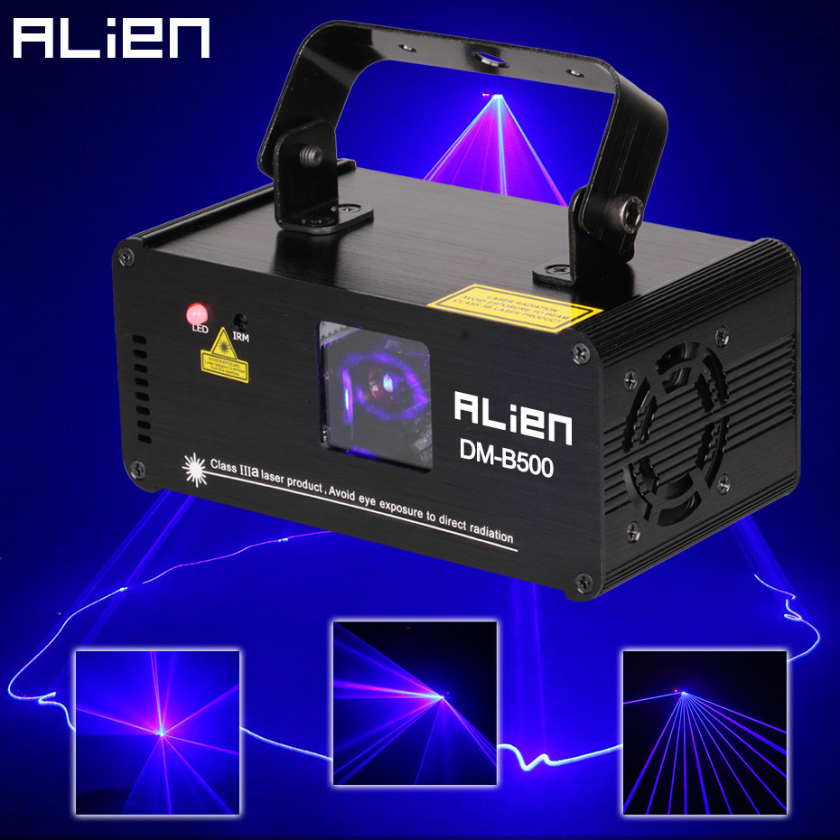 ALIEN DMX512 500mW Blau DJ Laser Projektor Scanner Bühne Beleuchtung Wirkung Disco Party Bar Startseite Xmas Remote Licht Zeigen lichter