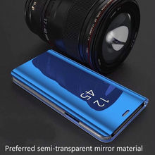 New!! Semi-transparent Mobile Phone Case Mirror Leather Case Smart Sleep Flip Protective Cover for Samsung S8 S8P S9 S9P Note9(China)