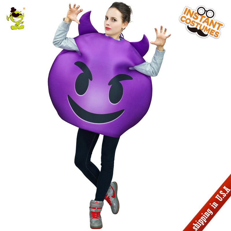 QLQ Adult Unisex Women Emoji Devil Costume Role Play Purple Devil Jumpsuit Fancy Dress Halloween Party Cosplay Devil Clothing