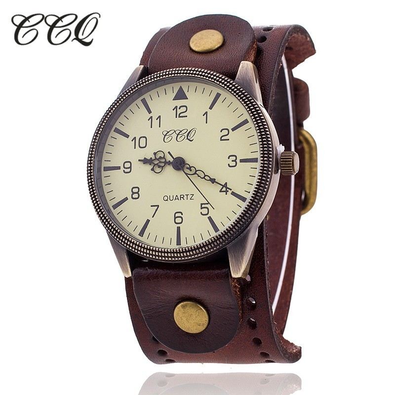 CCQ Vintage Cow Leather Bracelet Watch High Quality