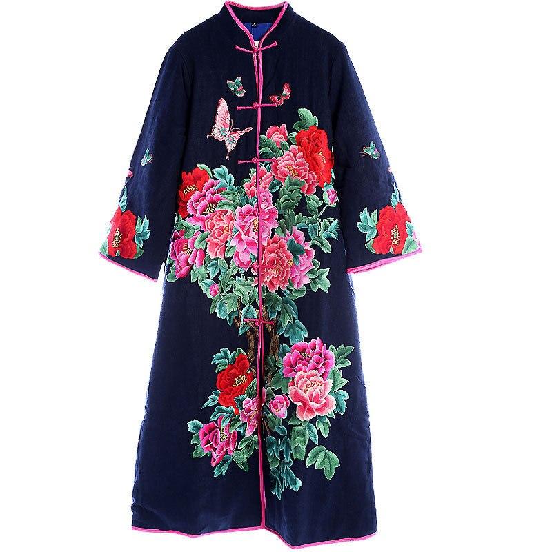 red Coupe xxxl La Vintage Les Haut vent Automne Survêtement blue Manteau Femmes Hiver Black De Plus Chaud Broderie Gamme Rayonne Tranchée Pour Taille M Femelle Floral FBqw4F7W