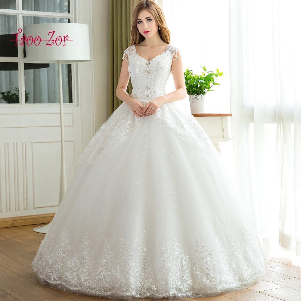 Wedding Ball Gowns With Straps: Taoo Zor High End Embroidery Sequined Linear Beading