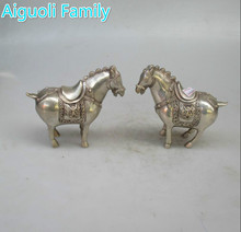 Collectible Decorated Chinese  Old Handwork Tibet Silver Carved Tang Horse Statue/Antique antiques 1 Pair Metal Horse sculpture