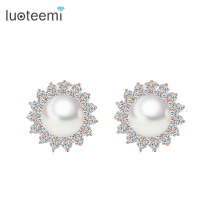 LUOTEEMI Deluxe Fashion Premium Rose Gold Plated Flower Shape Synthetic Pearl French Clip Stud Earring For Women Jewelry Wedding