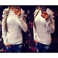 2016 Speed through the sale of the new solid round neck scarf sweater sexy long-sleeved sweater