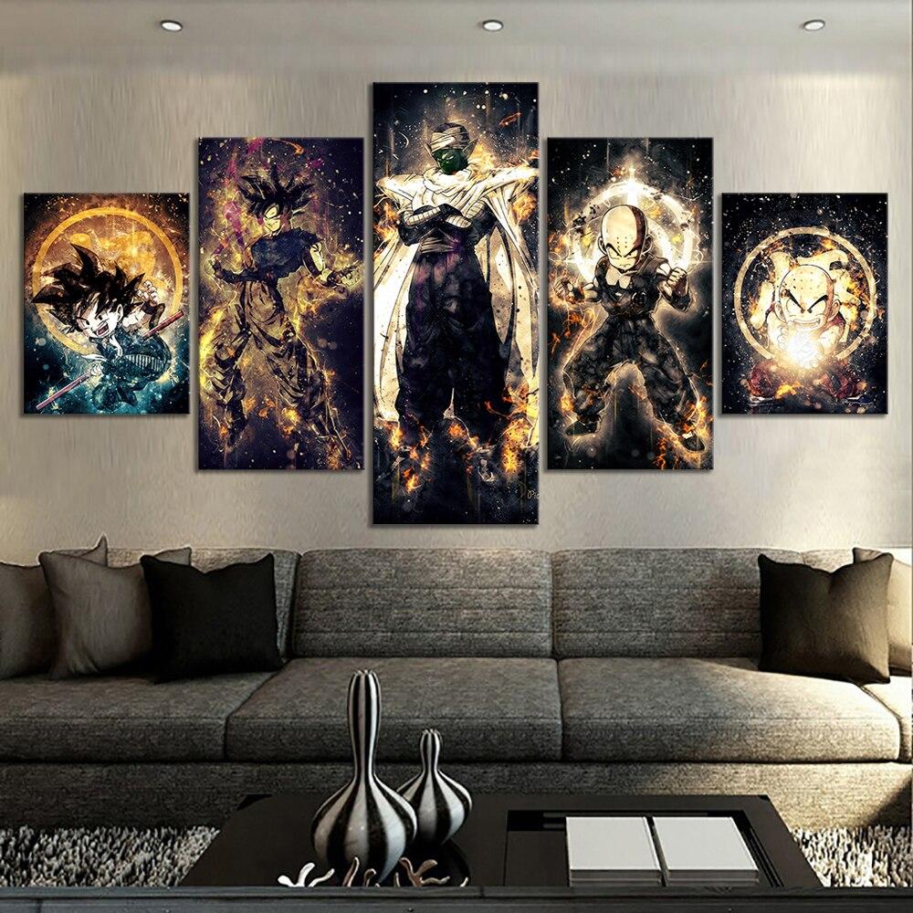 5 Piece Dragon Ball Z Anime Poster Paintings Kulilin Piccolo Goku Poster Abstract Art Wall Painting for Home Decor Wall Art 2