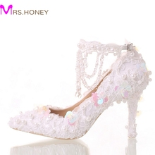 Beautiful White Bride Shoes Lace Platform Formal Dress Shoes with Ankle Straps Glitter Sequins Party Prom Pumps Pointed Toe