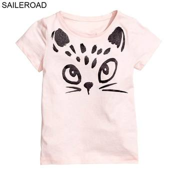 1-6Years Cartoon Cat Children Kids T Shirt 2018 New Summer Baby Girls Shorts Sleeve T Shirt 100% Cotton Toddler Shirts Clothes