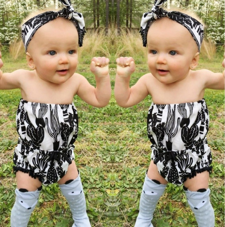Newborn Infant Baby Girls Floral Romper Jumper Jumpsuit Headband Outfits baby girl clothes bodysuit Clothes