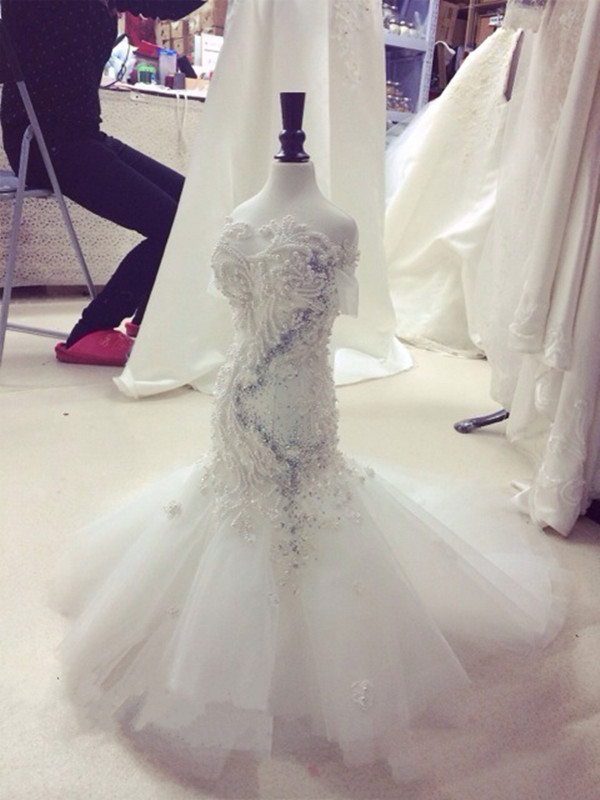 High Quality Custom Flower Girls Dresses White Lace Pearls Girls Pageant Birthday Dress First Communion Gown 100% Actual Images girls 100