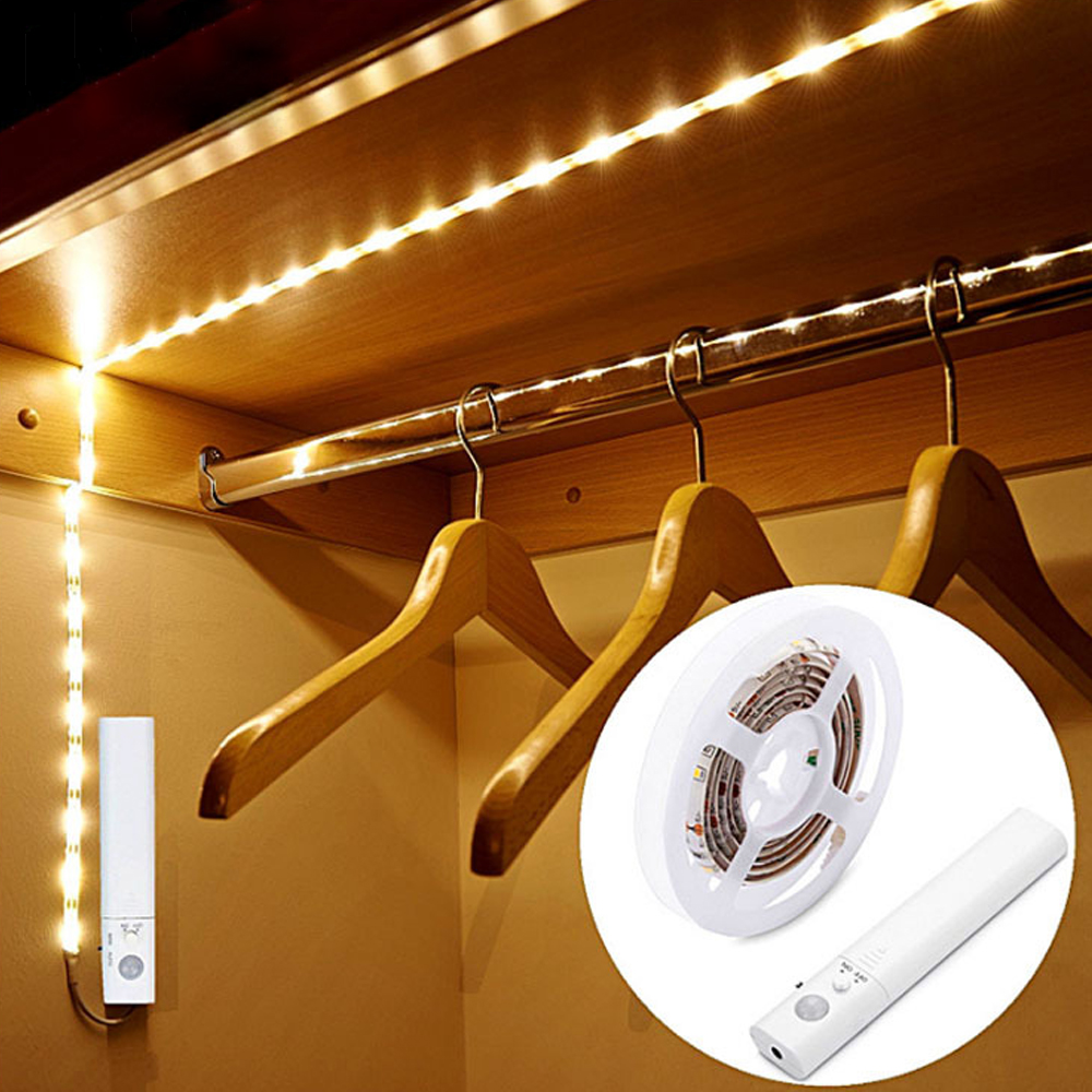 Lighting Basement Washroom Stairs: LED Strip Light Motion Sensor Diode Tape 1M Night Light