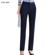 Plus Size Formal Pants Autumn Work Wear Straight Professional Business for Women Trousers Slim Office Lady Career Bottom