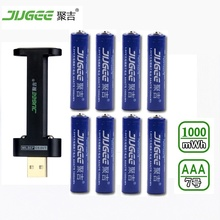8 PCS 1.5 v AAA lifepo4 Li-ion Li-polymère au lithium Jouets batteries 1000mWh AAA batterie rechargeable batterie + 1 PCS chargeur