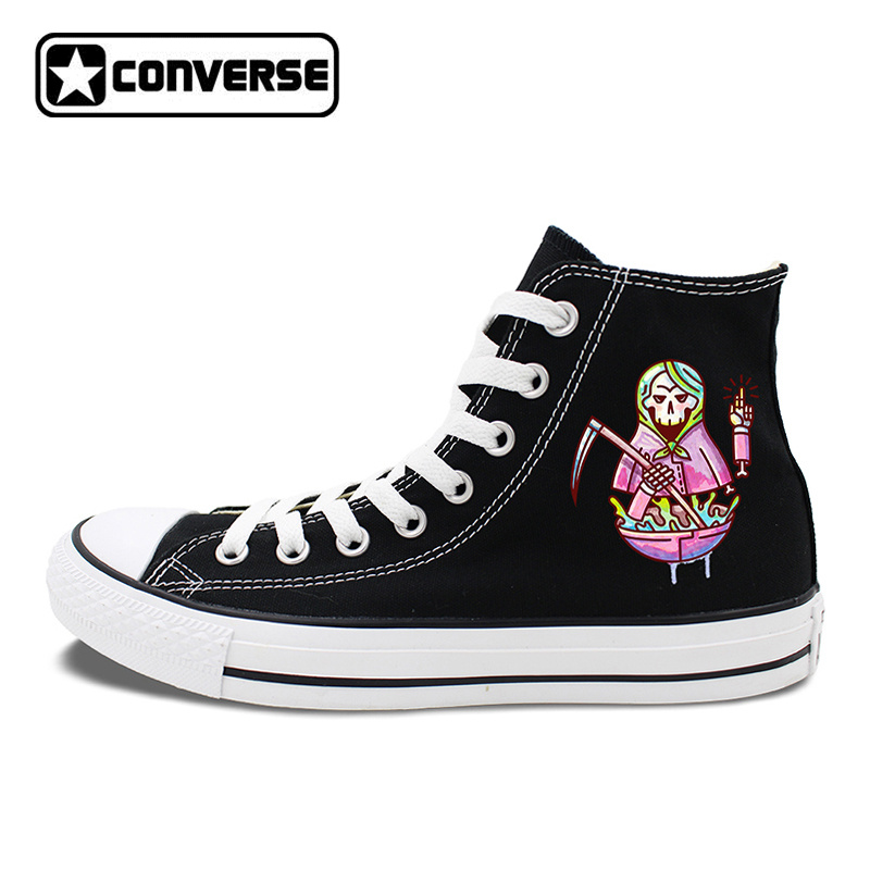 Classic Black Skateboarding Shoes Design Sickle Skull Doll Converse Sneakers Brand Chucks Taylor White Canvas Pumps canvas shoes lace up sneakers athletic original design skull bird house white converse black chucks taylor men women pumps