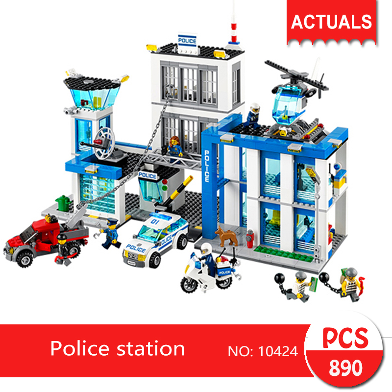 bela 10424 890Pcs City series Police station Model Building Blocks Bricks Toys For Children Gift 60047 lepin 02006 815pcs city series police sea prison island model building blocks bricks toys for children gift 60130