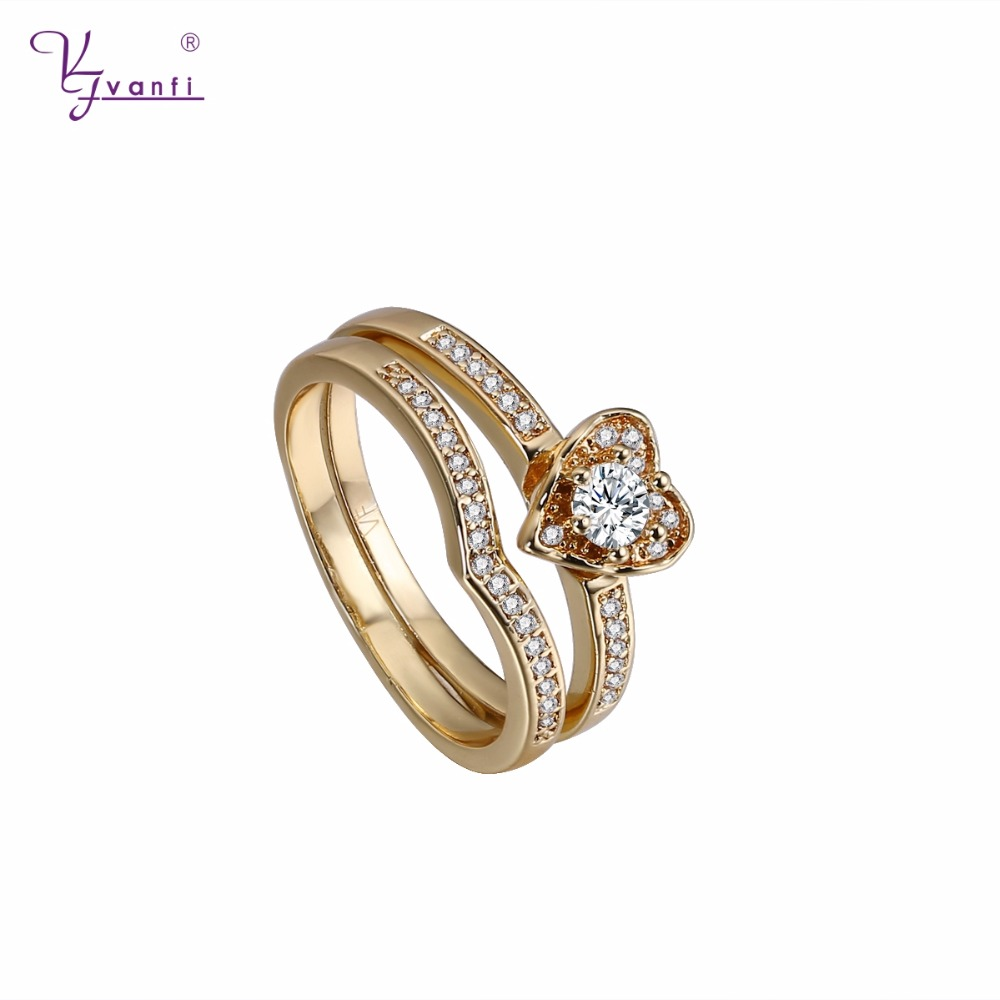 VANFI 2017 New Model Wedding Rings Gold Plating Heart Shaped For