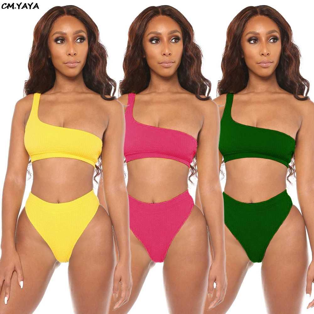 2019 נשים חדשות קיץ חוף אחד כתף יבול למעלה תחתוני חליפת שתי חתיכה סט ספורטיבי סקסי בגד גוף 3 צבע תלבושת אימונית G3884