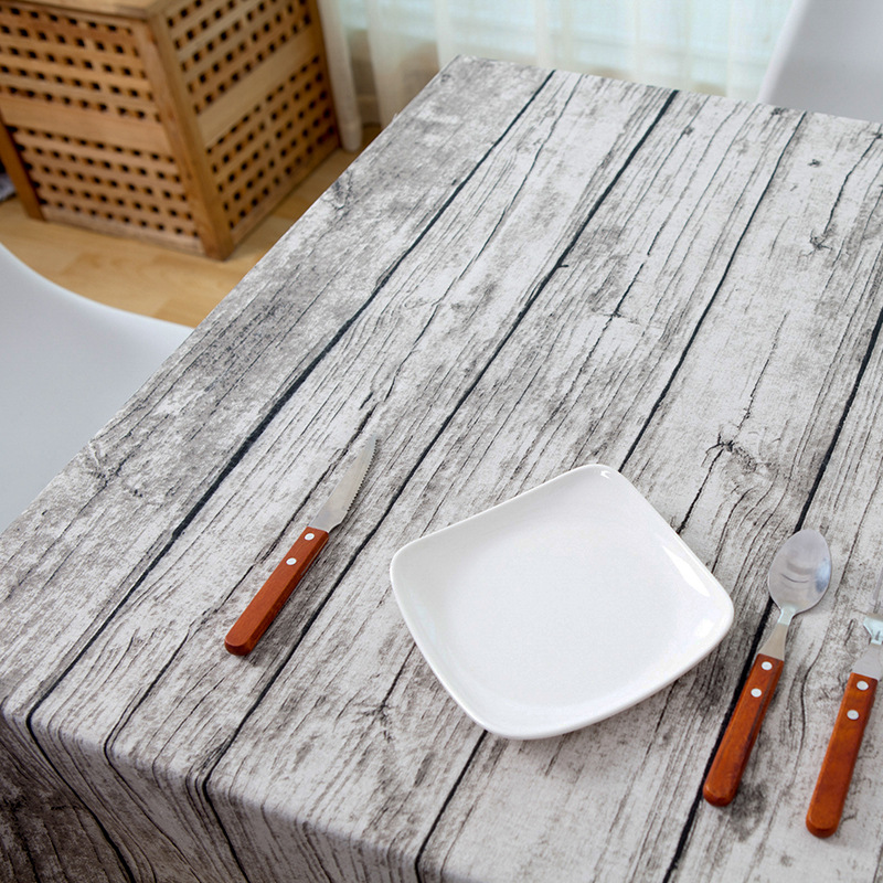 #a Retro simulation wood table cloth cotton fabric bark cloth tablecloth table photography background cloth