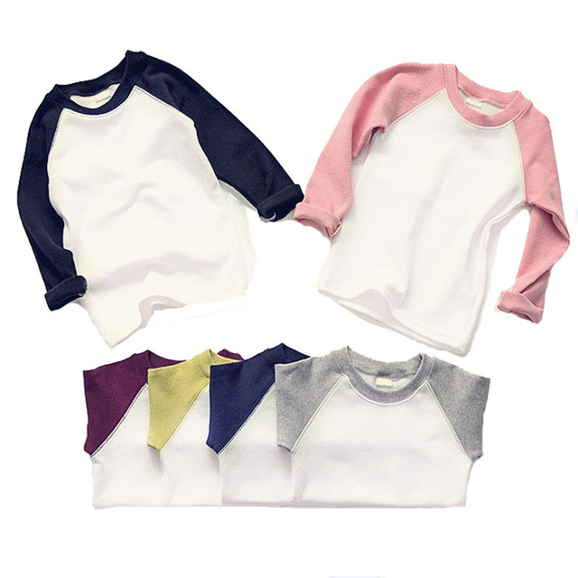 2016 New Children Girls Boys T-shirts Baby Cotton Tee Good Quality Boy Top Kids Shirt Bottoming For Girl Clothes Long Seeve Tops