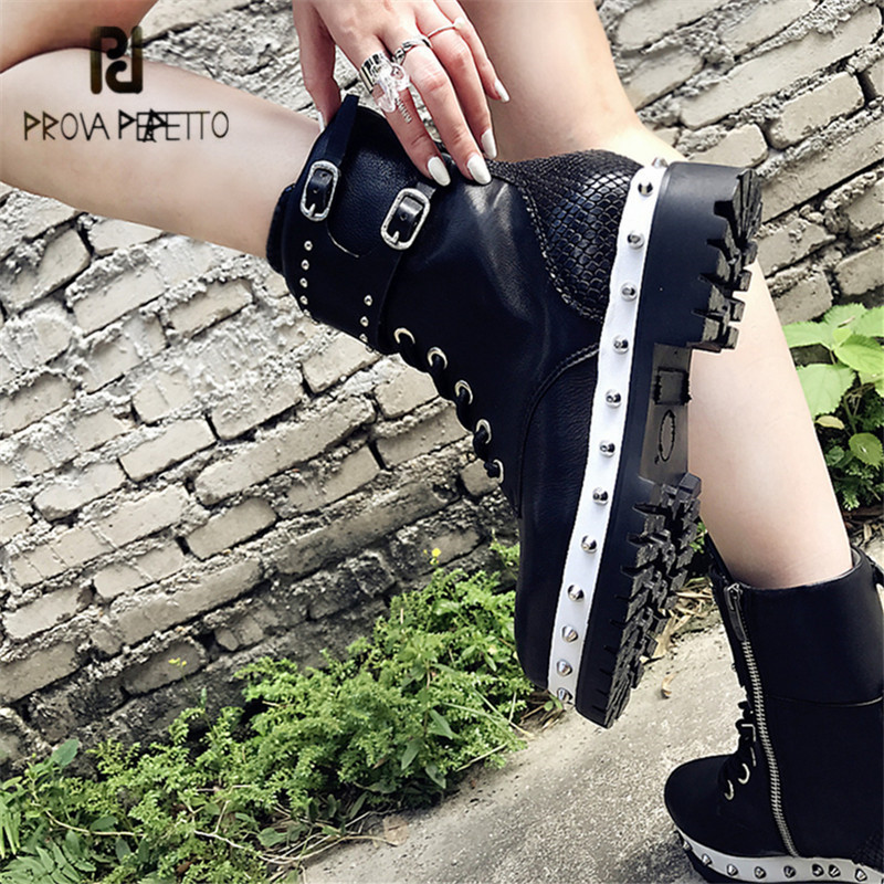 цена на Prova Perfetto Black Women Ankle Boots Genuine Leather Rivets Studded Lace Up Autumn Winter High Boots Female Platform Shoes
