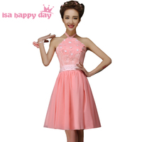 watermelon short formal summer halter dress 2019 chiffon bridal party robes dress homecoming dresses size new arrival H4237