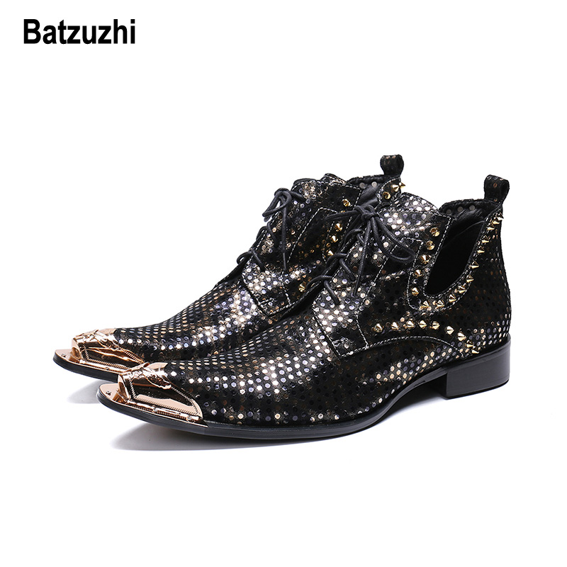 купить Batzuzhi Italy Type Men Shoes Fashion Black Leather Boots Men Pointed Metal Tip Lace-up with Rivets botas hombre Party Boots Man онлайн