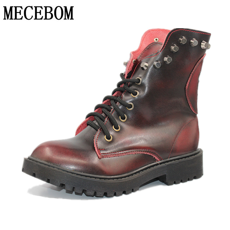 Fashion Leather Women Winter Boots Soft Leather Skull Martins Ankle Shoes Brand Quality Black Warm Fur