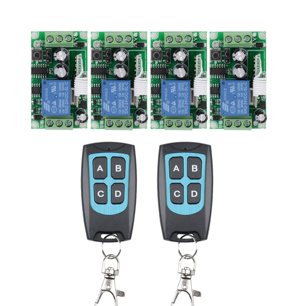 24V 10A Relay RF Wireless Remote Control Switch Wireless Light Switch 4PCS Receiver With 4button Black Button Transmitter24V 10A Relay RF Wireless Remote Control Switch Wireless Light Switch 4PCS Receiver With 4button Black Button Transmitter