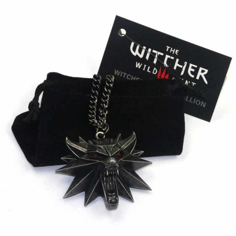 Cool Wolf Kolye On Line Game The Witcher 3 Necklaces Wild Hunt Medallion Pendant And Chain Necklace For Men 1 Bag 1 Card