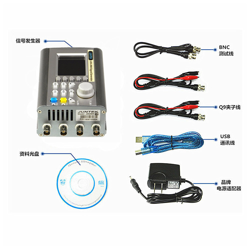 15-60MHZ Frequency Meters JDS2900 Full CNC Signal Generator Double Channels DDS Function Arbitrary Waveform Pulse Signal Source hantek6104bd oscilloscope 4 channels 6104bd arbitrary waveform generator 100mhz bandwidth powered by usb2 0 interface