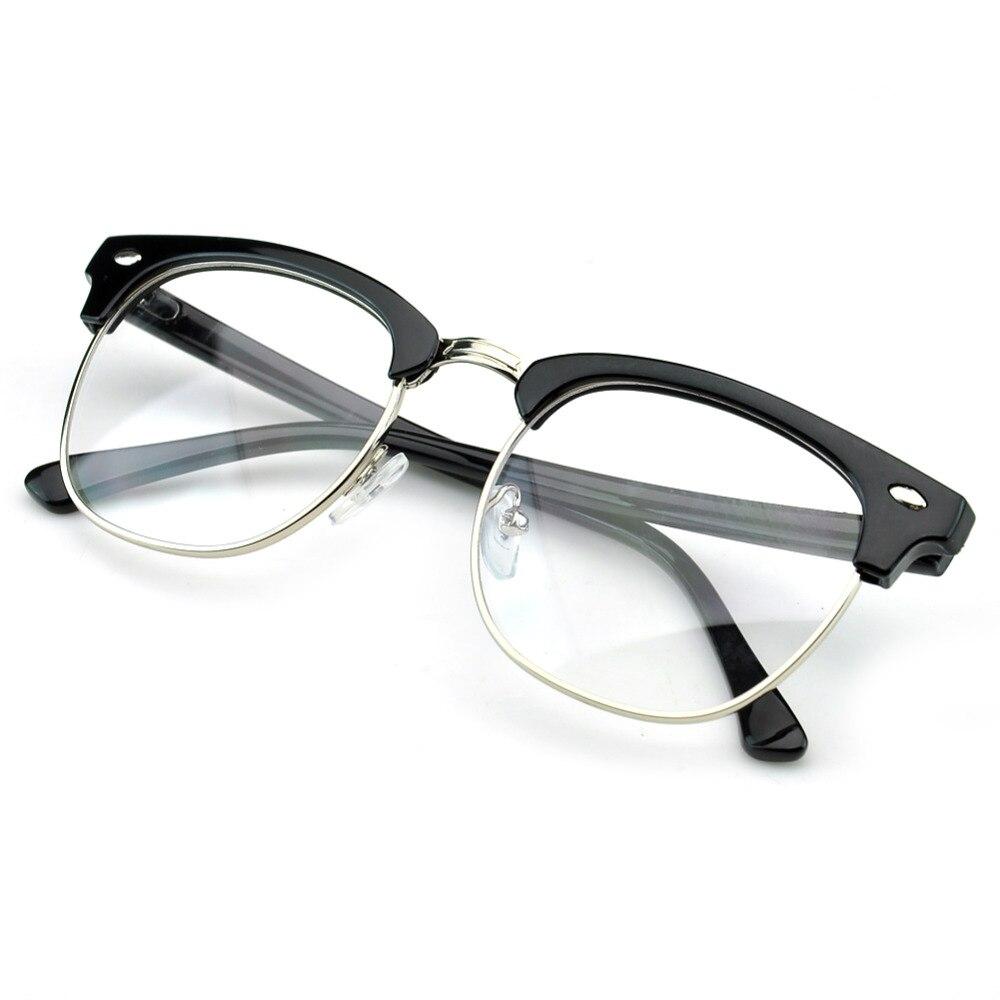d7f7976812f PenSee Vintage Inspired Classic Half Frame Horn Rimmed Clear Lens Glasses  Eyeglasses Frames