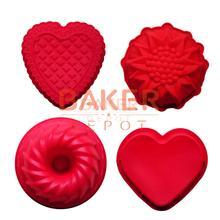 De silicona Para Hornear Molde de La Torta Con 4 Diseños Differet, molde de la categoría alimenticia, Girasol, corazón, ronda, Herramientas de decoración de Pasteles, conjunto de 4