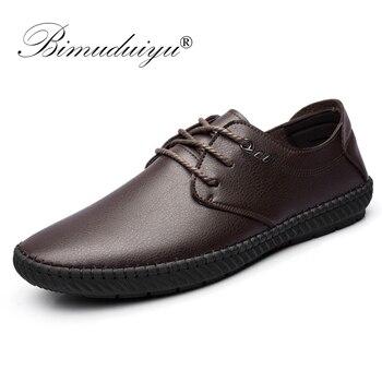 BIMUDUIYU Nova Marca De Luxo De Couro Dos Homens Sapatos Casuais Sapatos Respirável de Microfibra Preto Liso Sapatos Marrons Para Os Homens o Transporte Da Gota