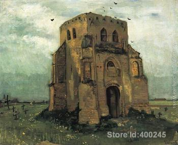 Best Art Reproduction Country Churchyard and Old Church Tower Vincent Van Gogh Painting for sale hand painted High quality image
