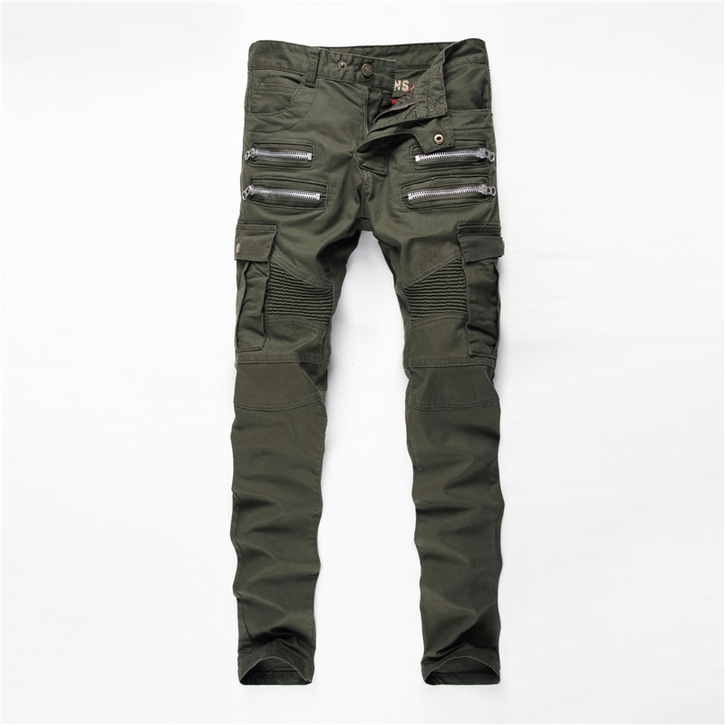 high quality New Mens Army Green Jeans Motocycle Camo Military Slim Fit Fashion Designer Biker Jeans Men italian designer men jeans blue color slim fit destroyed ripped jeans mens pants high quality summer style street biker jeans