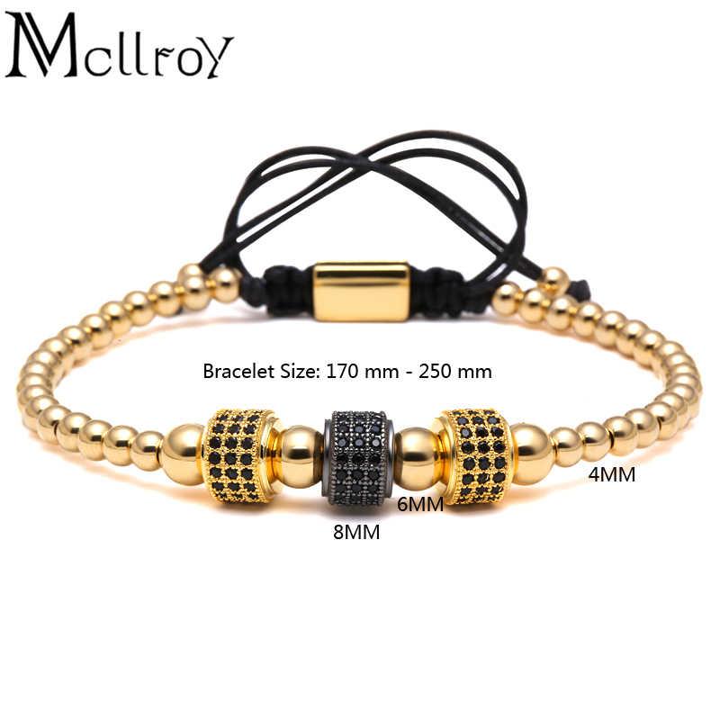 Mcilroy 4mm tytanu okrągłe koraliki Macrame pleciona mężczyzn biżuteria bransoletki dla mężczyzn Macrame pleciona Charm bransoletka i transportu koraliki