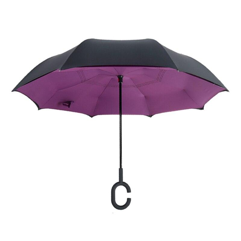 Inverted Reverse Folding Umbrella Purple Unbrellas Fabric Double Layer Windproof Rainproof UV Protection Long Handle Umbrellas